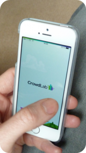 Mobile phone with CrowdLab app